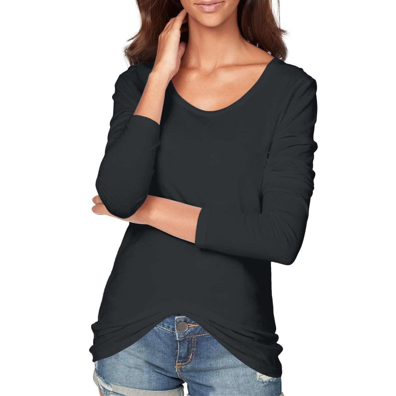 DYLH Maglia a Maniche Lunghe Donna T Shirt Tunica Pacco da 3 Casual Top Lungo con Scollo da Barca
