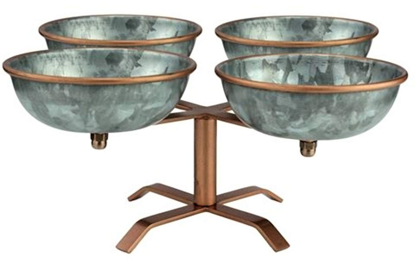 Galrose ENTERTAINMENT CONDIMENTS SERVING BOWL SET ON STAND - 4 Galvanized Iron Bowls for nuts chips dips snacks candy jams sauces pickles with Rose Gold Lip & Stand Unique Industrial Chic Gift Idea