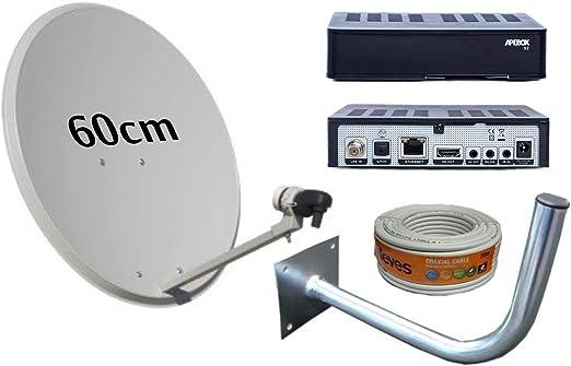 Kit Antena PARABOLICA 60CM TECATEL + Receptor SATELITE APEBOX ...
