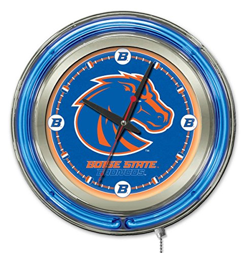 Boise State Broncos HBS Neon Blue College Battery Powered Wall Clock (15