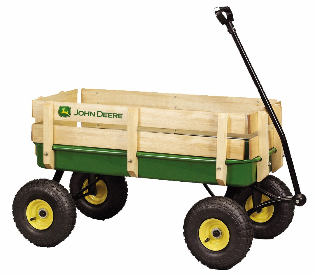 John Deere - 36'' Steel Wagon With Wooden Stake Sides by Learning Curve