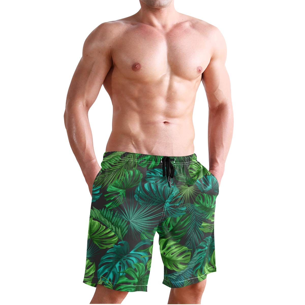 KUWT Mens Swim Trunks Tropical Palm Leaves Quick Dry Beach Shorts Summer Surf Board Shorts