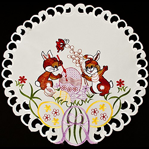 - Easter Bunny Painting Egg Linen Doily 15 Inch Round