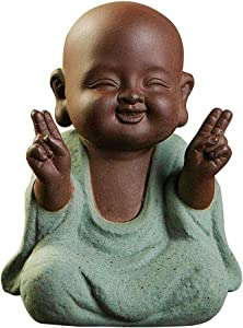 YooDaa Small Office Decoration Buddha Statues Sculptures - Buddha Statues Monk Ceramic Figurines Tea Pet Home Decoration, 2.67in x 3.74in