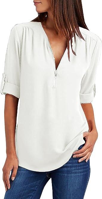 UMIPUBO - Blusa de mujer con cremallera, color azul y camisa, elegante túnica de gasa, camiseta de estilo casual Bianco L: Amazon.es: Ropa y accesorios