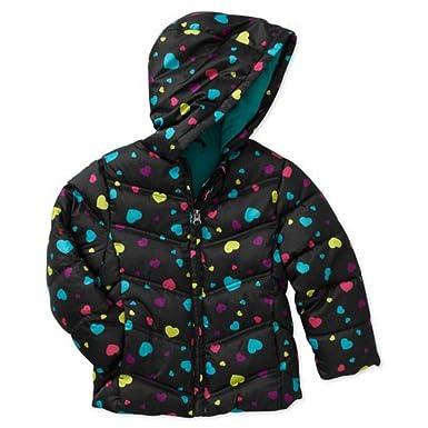4fe12a023 Amazon.com  Healthtex Infant Girls Black Hearts Winter Coat Bubble ...