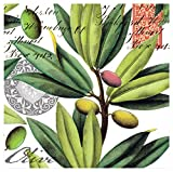 Michel Design Works 20-Count 3-Ply Paper Cocktail Napkins, Olive Grove