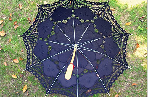 Saitec® 30'' New Arrival Black Old Fasion Embroidered Lace Parasol Sun Umbrella Wedding Bridal Party Decoration by Saitec (Image #4)