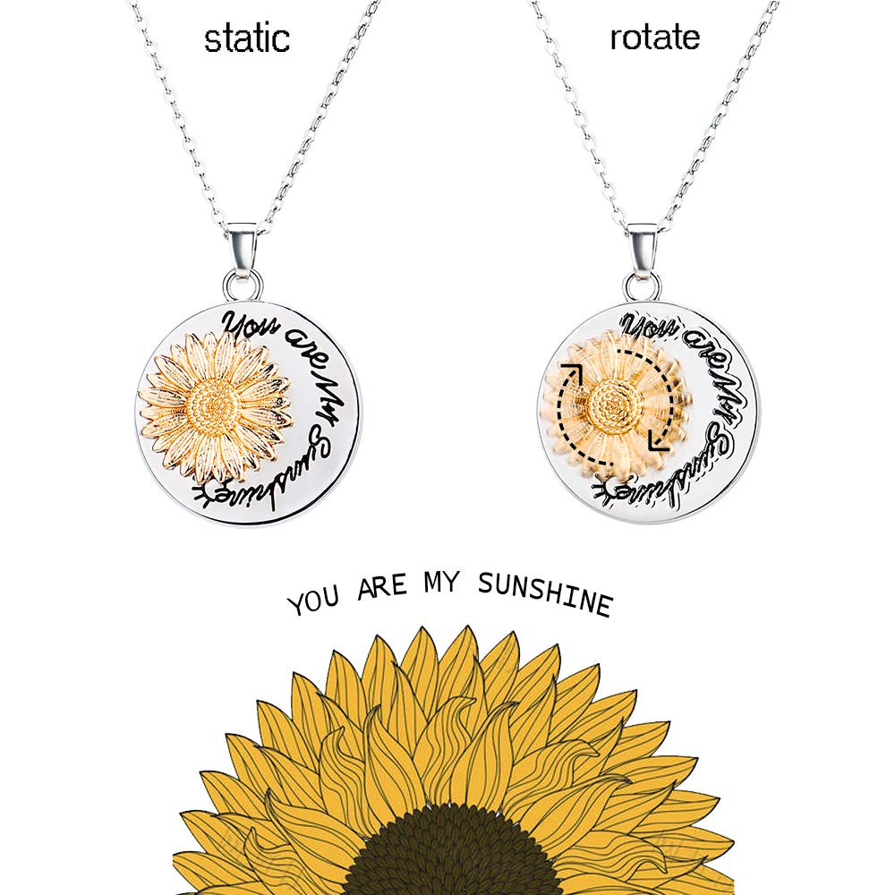 You are My Sunshine Rotating Spins Necklace Memorial Sunflower Whirligig Necklace for Women Girls with Nice Gift Box