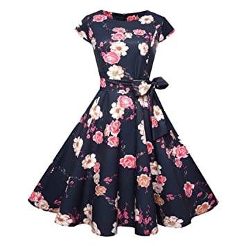 Vintage Bodycon Dress Promotion!Rakkiss Women Short Sleeve Evening Party Prom Swing Casual Retro
