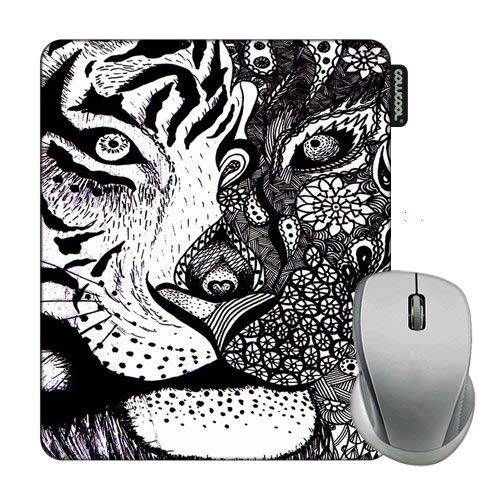 Cowcool Mouse Pad with Hand Painted Tiger Leopard Mosaic Head Mouse Pads for Computers Laptop Gameing
