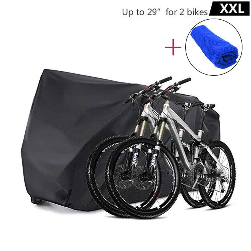 Bicycle Bike Cover Waterproof Outdoor for 2 Bikes Heavy Duty 210D Oxford XXL Wheel Rain Cover with Resist Strong Winds Easy Fold Carry Around Cycling Covers for Mountain/Road/Electric Bike