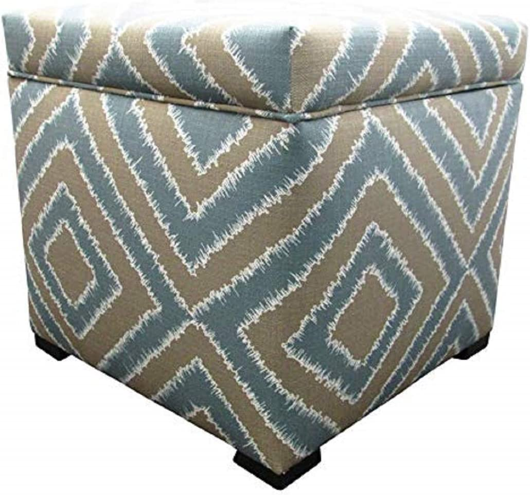 Sole Designs Nouveau Series Tami Collection Capri Finish Upholstered Ottoman with Storage and Lift Top