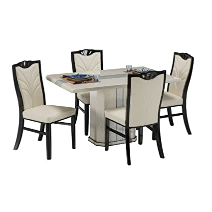 best website 12744 4d9c0 Durian Westland Four Seater Dining Table Set (White): Amazon ...