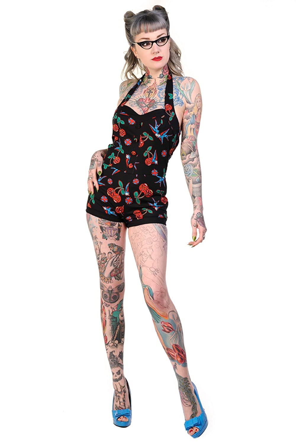 Vintage Rompers and Retro Playsuits Banned Cherry Skulls And Swallows Vintage Playsuit $32.95 AT vintagedancer.com