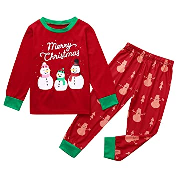 Christmas Pajamas for Family XGao Family Christmas Pajamas Set Pajamas Set Christmas Kids Baby Infant Girls Boys Printed Letter Top+Pants Xmas Matching Blue 2 to 14 Years Blue, 3T