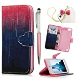 iPod Case iPod Touch 5 Case -MOLLYCOOCLE[Cute Meteor] Stand Wallet Purse Credit Card ID Holders TPU Soft Bumper Premium PU Leather Ultra Slim Fit Cover for iPod Touch 5 5th Generation