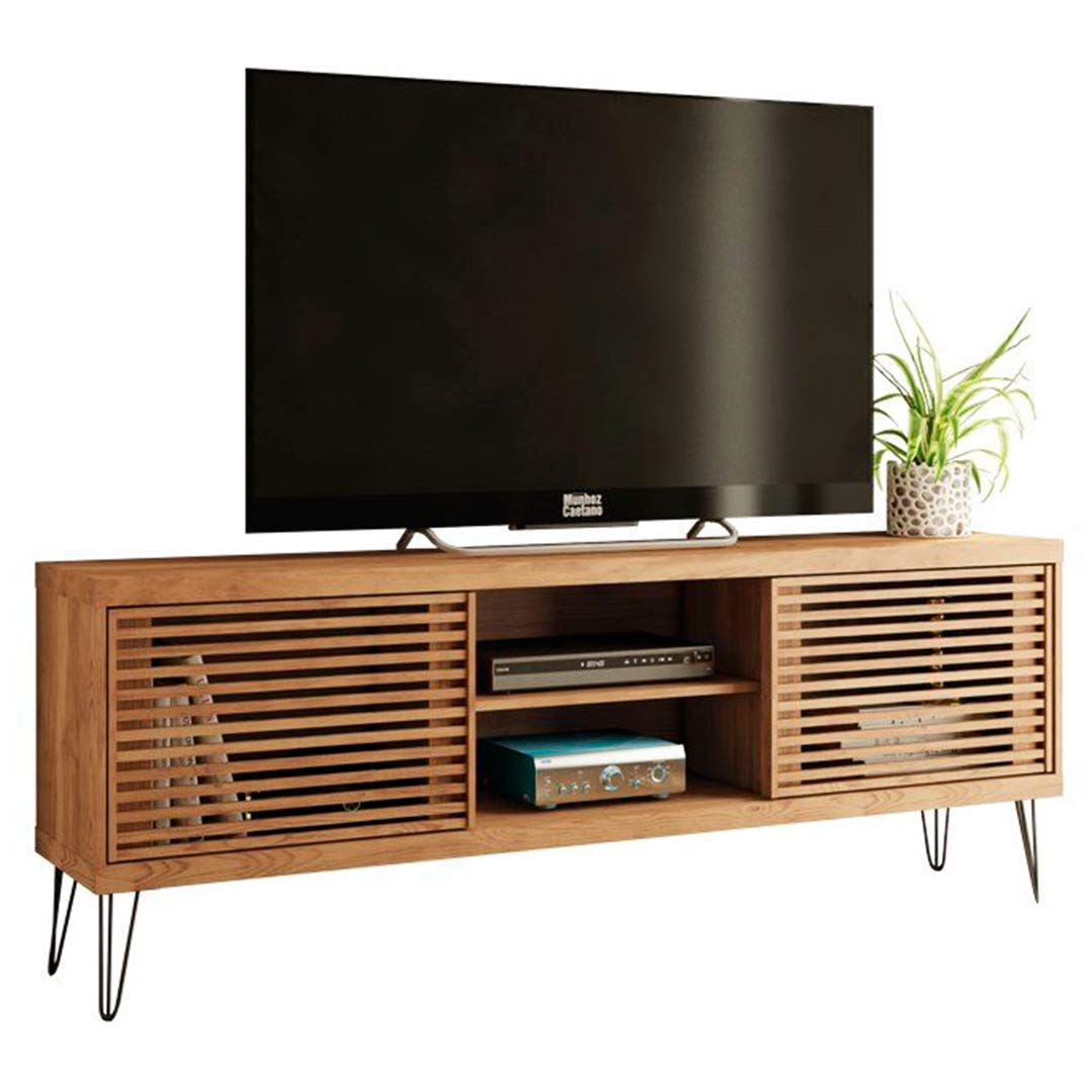 Farmhouse TV Stand 70 Inches TV With Wood-Slat Sliding Doors Industrial Modern Design by Furnishinings