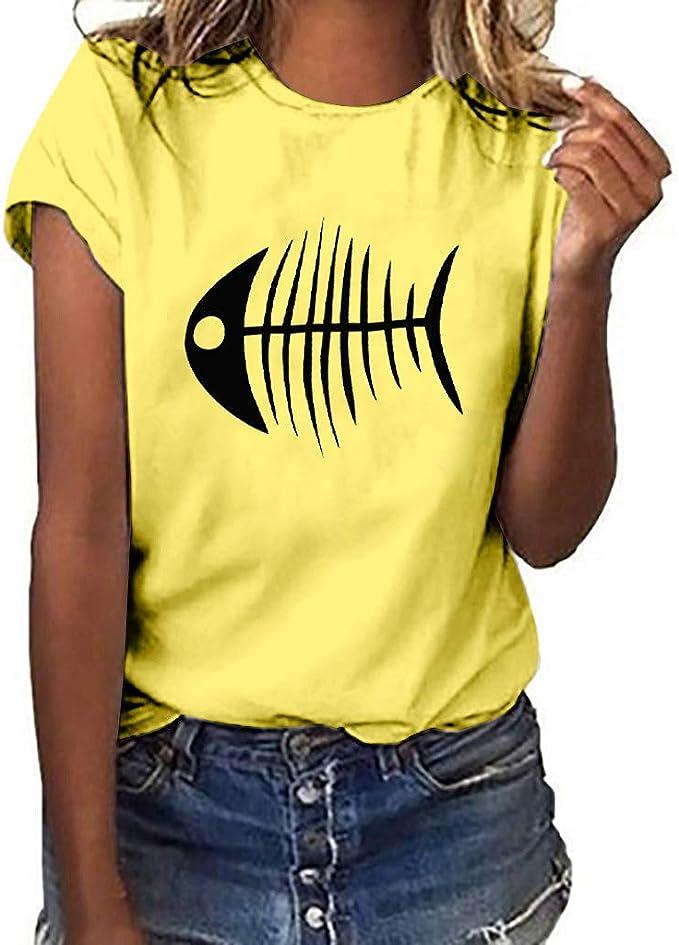 MEIbax Moda Estampado de Espina de Pescado - Camiseta de Mujer Verano Debe Manga Corta de Las Mujeres Ocio Vacaciones Tops de Mujer Suelto y cómodo Ropa de Mujer: Amazon.es: Ropa y