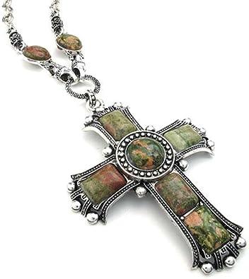 Stainless Steel Cross Pendant Necklace Women Mens Vintage Flower Silver