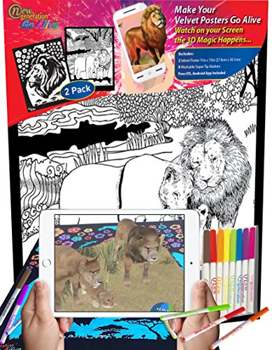 New Generation GO Alive - LION - 2 in 1 Coloring 11x15 inch Velvet Posters Color and Watch using your smartphone A Magical Animated Show on YOUR Creativity - Amazing 4D Dimension on your Coloring. New 20 Animal Print