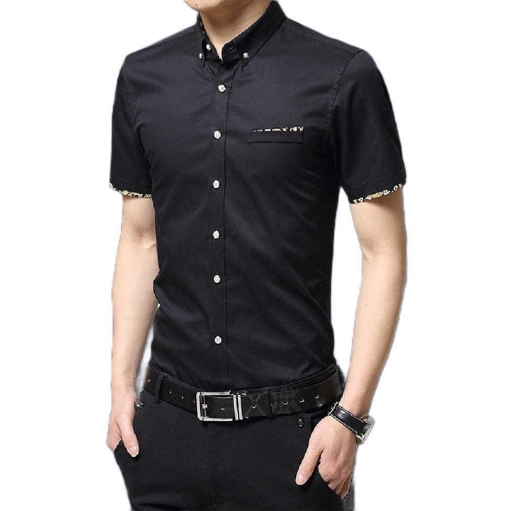 Sebaby Men Big /& Tall Simple Summer Tailored Fit Shirts Woven Shirt