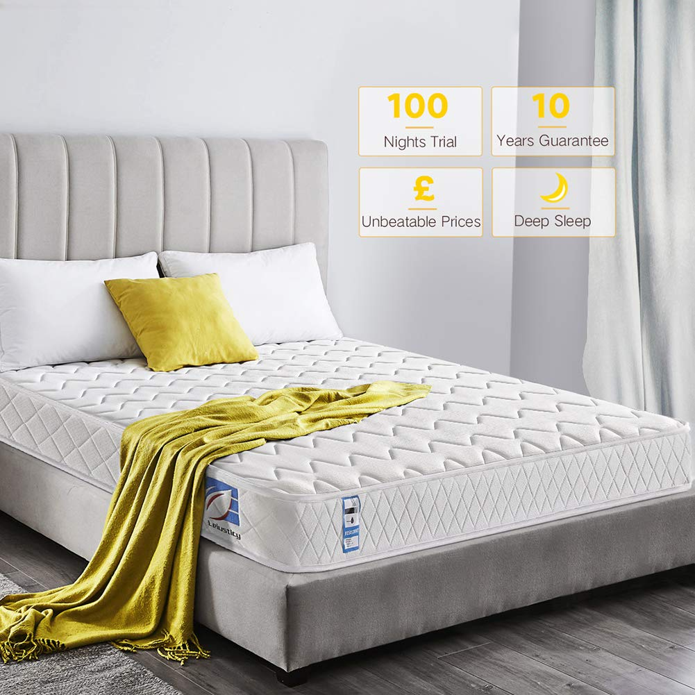 Ej. Life 2FT6 Small Single Sprung Mattress with Memory Foam - 6.3-Inch Deep - 100 Nights Trial