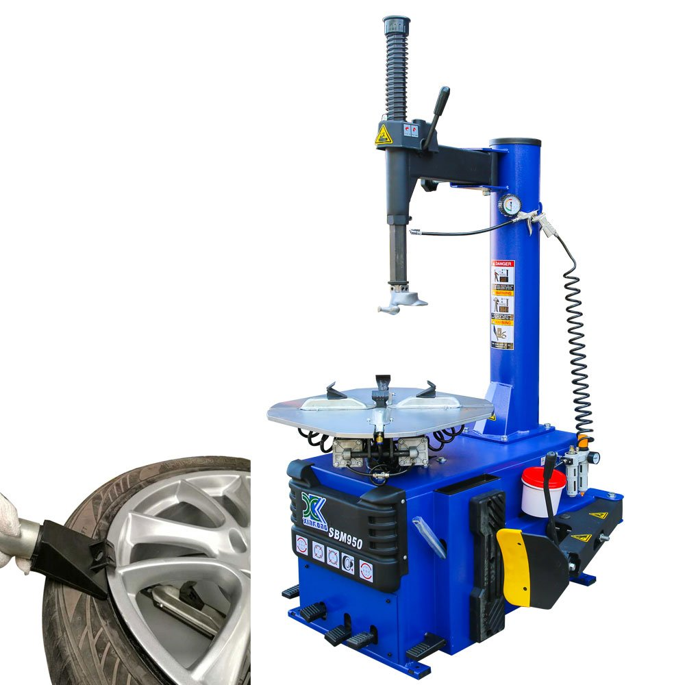 1.5 HP Tire Changer Wheel Changers Single Machine Rim Clamp 950 w/ Air Bead Blaster Function and 12 Month Warranty 110V