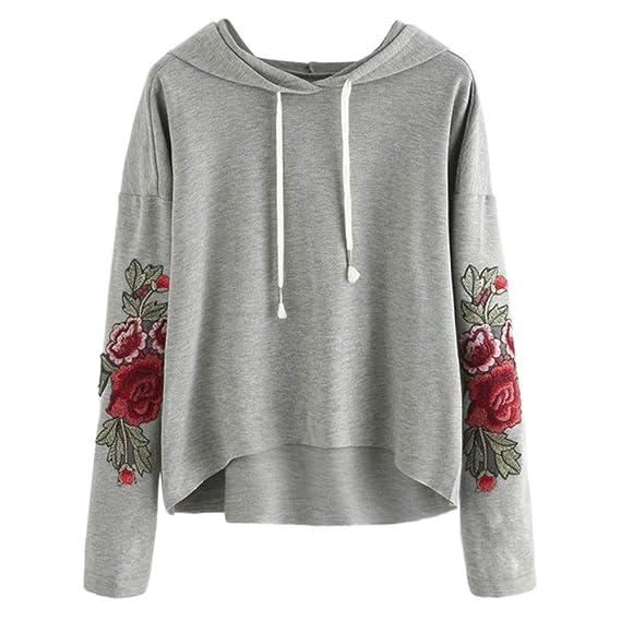 farblich passend 100% original Junge ZEZKT-Mode Damen Sport Sweatshirt mit Rose Stickerei,Frauen ...