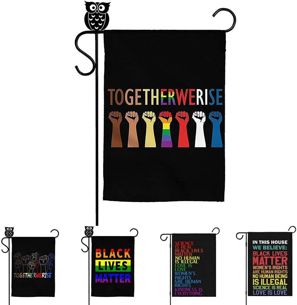 Black Lives Matter Lawn Sign in This House We Believe Flag Together We Rise House Decorative Garden Flags Yard Outdoor Decor 12 x 18 Inches Kindness Equality Flag (12x18 inch, Together We Rise)
