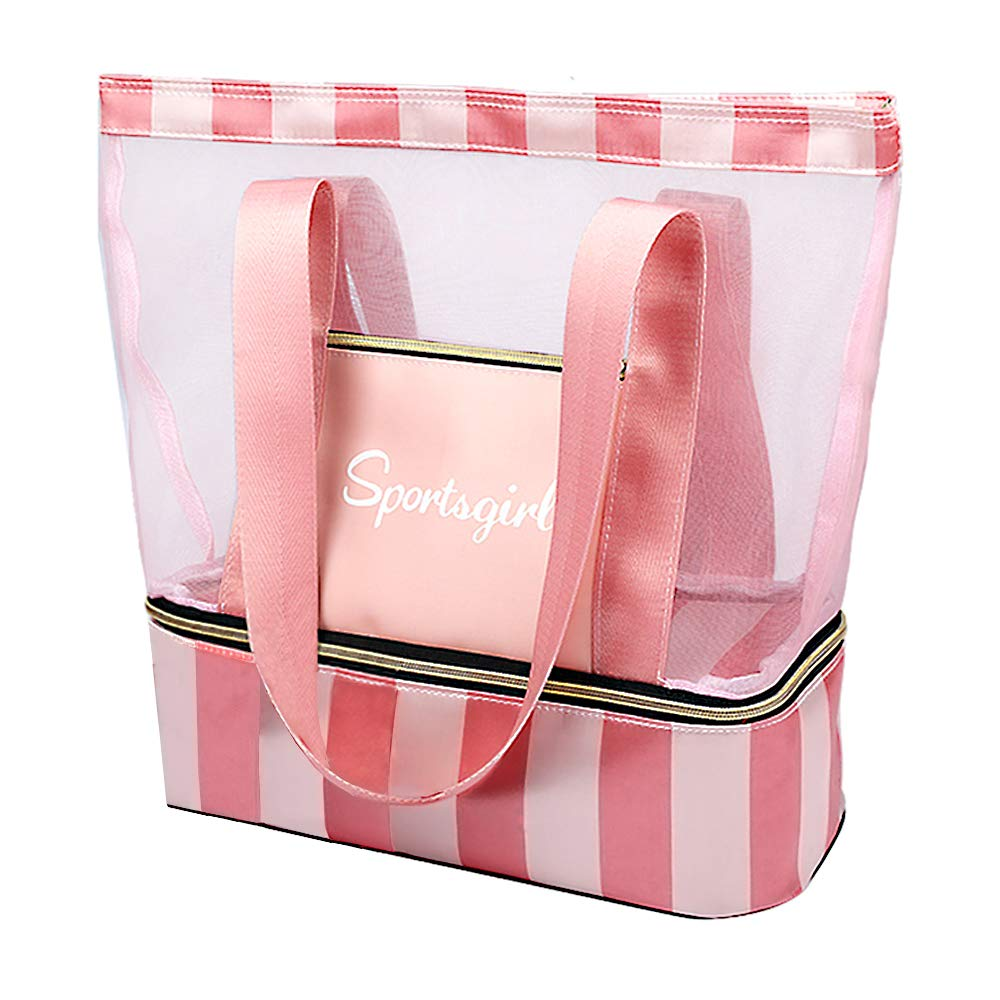 Summer Romance Mesh Beach Bag Tote Bag with Waterproof Insulated Cooler Bag (Pinky)