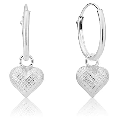 2e304b3ce DTPSilver - 925 Sterling Silver Small Hoops Earrings and Dangling Puffed  Heart: Amazon.co.uk: Jewellery