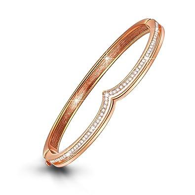 d269482a7 LADY COLOUR Women Bracelet Rose Gold Plated Bracelet for Wife Swarovski  Crystals Jewelry Bangle Bracelets Women