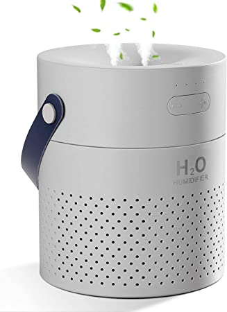 SmartDevil Humidifier,1.1L Cool Mist Humidifier with 4000mAh Battery Operated, umidifiers for Home Bedroom Office Travel, Double Head Spray,Colorful