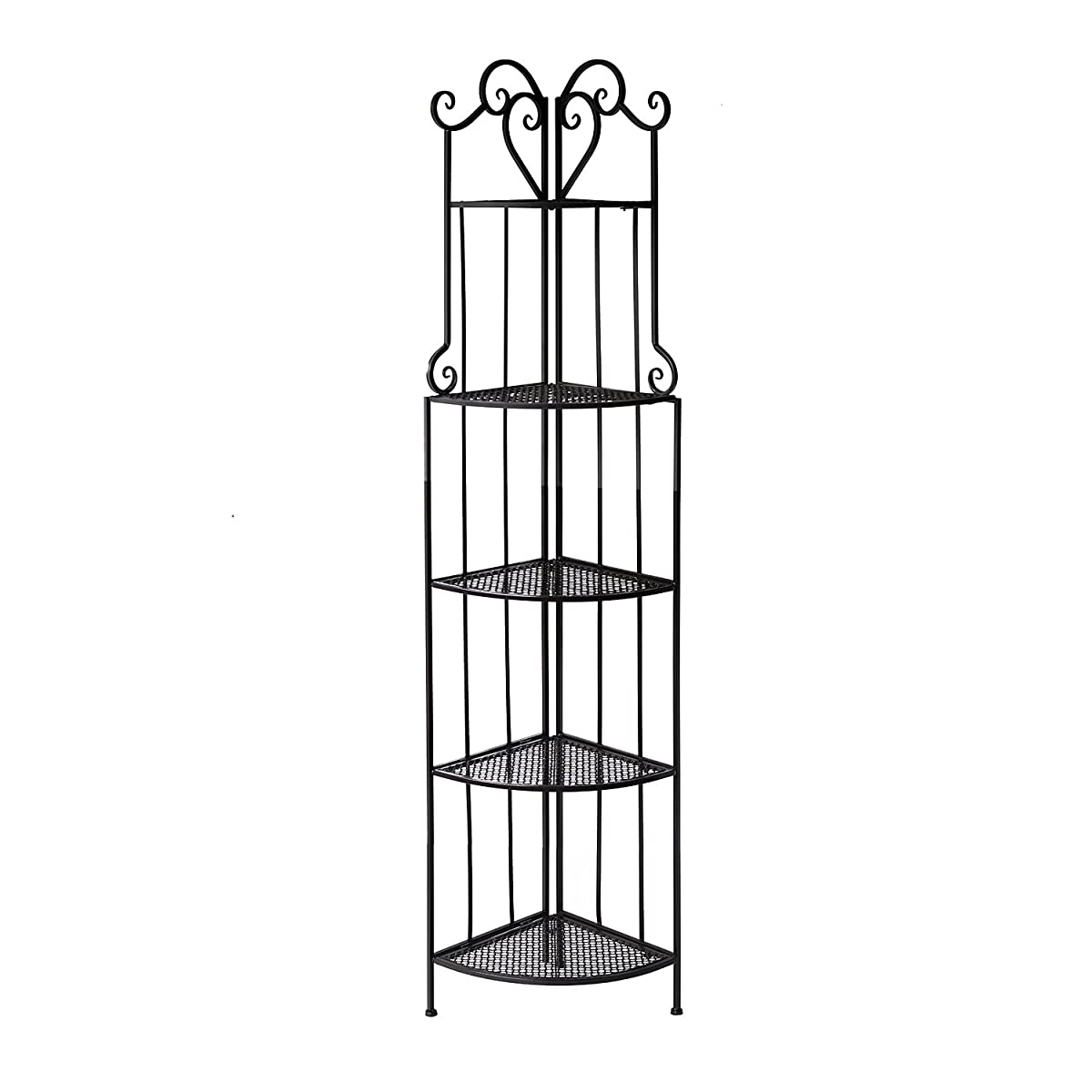 Outsunny 5 Tier Decorative Metal Corner Plant Shelf Stand