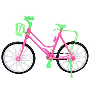Girls Miniature Bicycle with Basket, Plastic Simulation Mountain Bike Toy Kids Play House Gifts Decors for Doll Outdoor Accessories