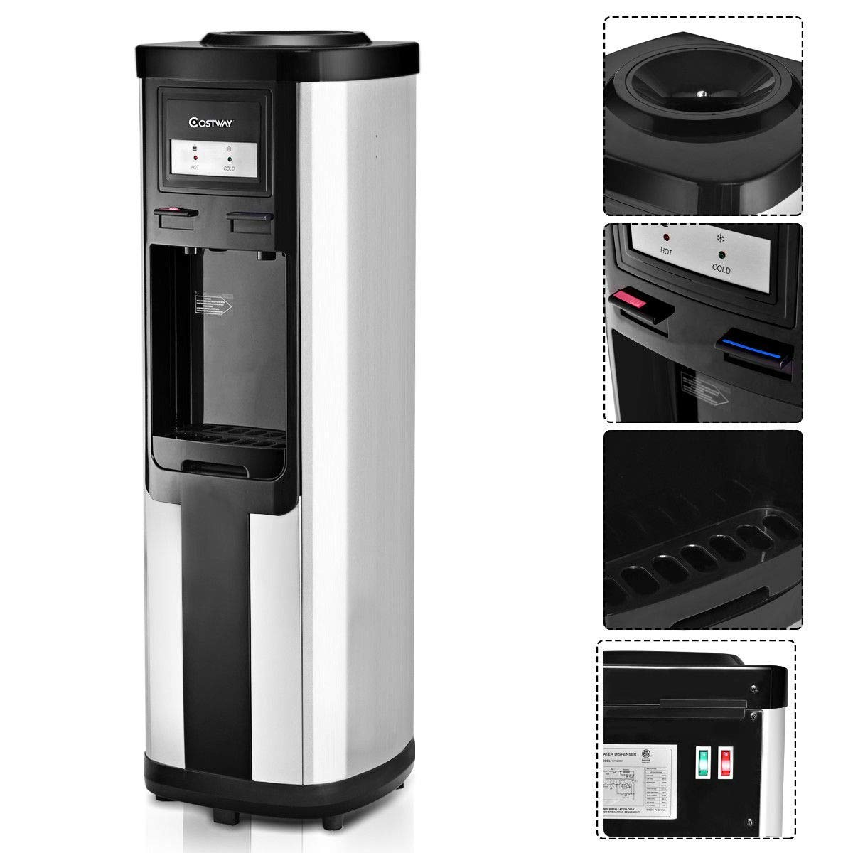 Costway Water Cooler Dispenser 5 Gallon Top Loading Water Dispenser Stainless Steel Freestanding Water Cooler W/Hot and Cold Water (Black and Silver) by COSTWAY (Image #5)