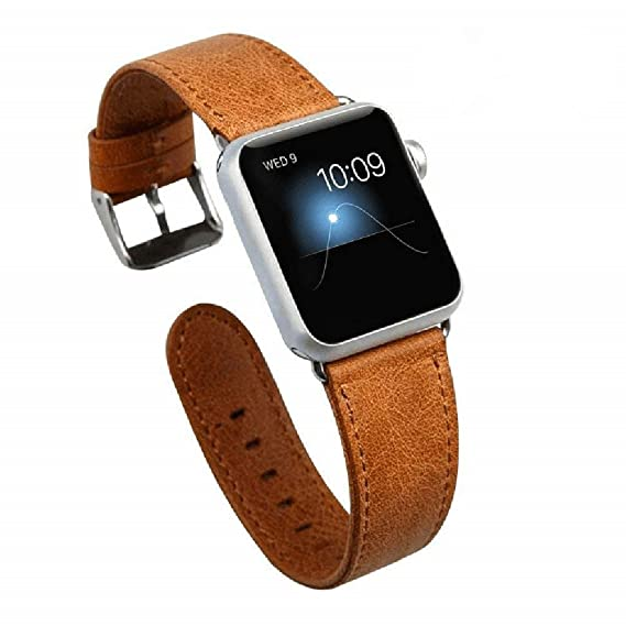 brand new a38a1 ccd04 Amazon.com: Jisoncase Apple Watch Band Vintage Leather Replacement ...