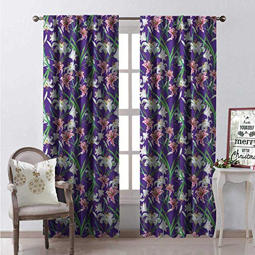 Hengshu Calla Lily Window Curtain Drape Romantic Tropical Garden Artwork Iris and Lilies on a Purple Background Customized Curtains W96 x L84 Multicolor