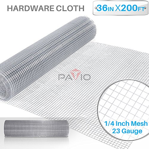 Patio Paradise 1/4 36-Inch x 200-Feet 23 Gauge Wire Mesh Galvanized Hardware Cloth for Garden Plant Rabbit Chicken Run Chain Link Fencing Guard Cage by Patio Paradise