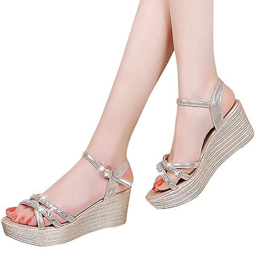 Kiminana Women s Wedding Sandals Crystal Beaded Bohemian Dress Gladiator  Shoes Plus-Size Gold