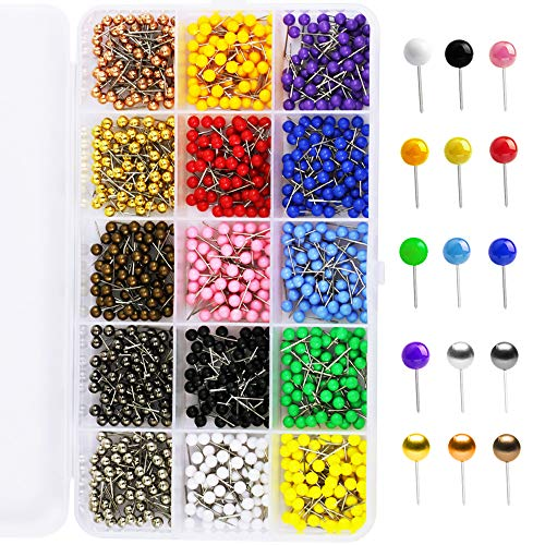 s Map Tacks,1/8 inch Round Head with Stainless Point, in reconfigurable Container for Bulletin Board, Fabric Marking, map pins (15 Assorted Colors) ()