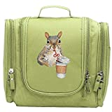 Travel Toiletry Bags Cute Squirrel Loves Coffee Washable Bathroom Storage Hanging Cosmetic/Grooming Bag For Household Business Vacation, Multi Compartments, Waterproof Lining