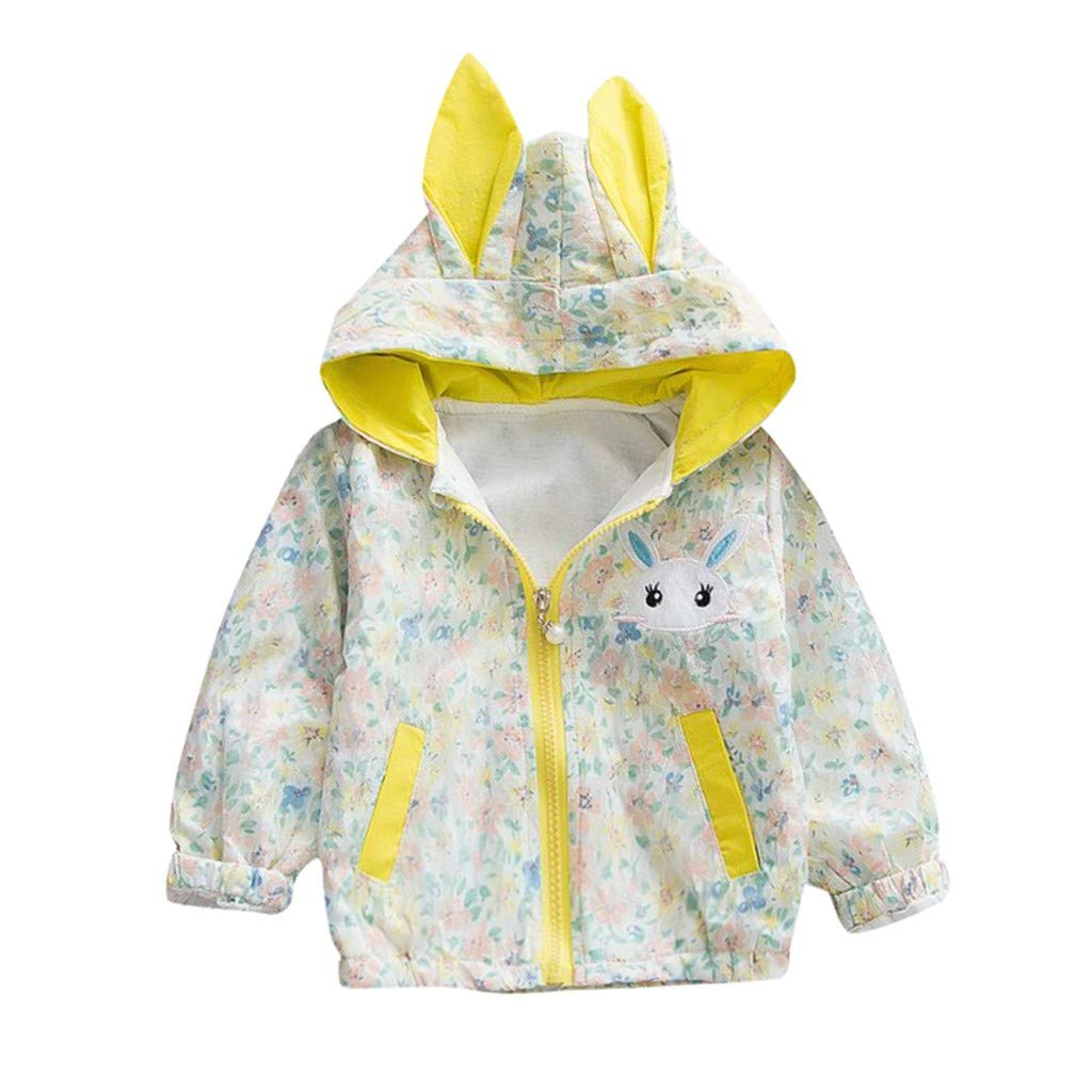 Lifestyler Girls Fashion Rabbit Pockets Jacket Cute Floral Long Ear Hooded Zipper Windproof Coat