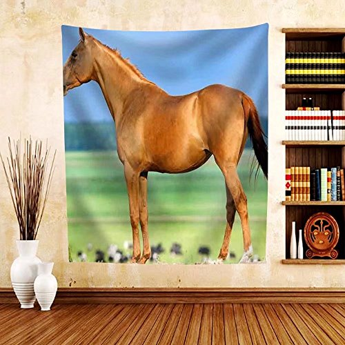 Gzhihine Custom tapestry Chestnut Budenny Horse Looking on the Cows at Field. - Fabric Tapestry Home Decor - The Outlets Vero At Beach