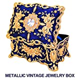Jewelry Boxes Gift for Girls Teens Women,Vintage Metal Case Organizer Storage Box by Ophanie(Blue)