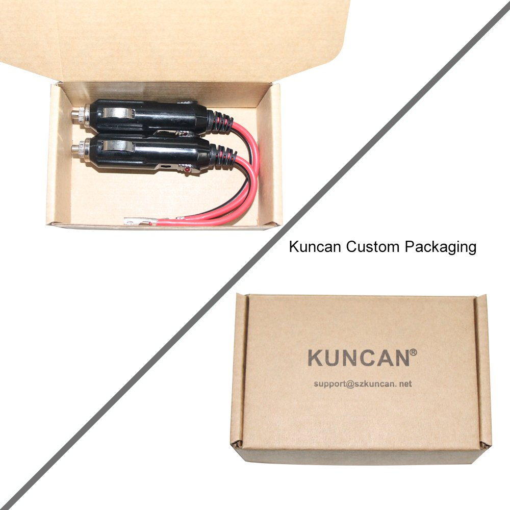 2 Pack Kuncan Car Replacement 12v Cigarette Lighter Male Plug With Fuse Condition Monitor Led Indicator Leads 10amp Light Cigar Female Socket Extension Cable Kc Ca 34