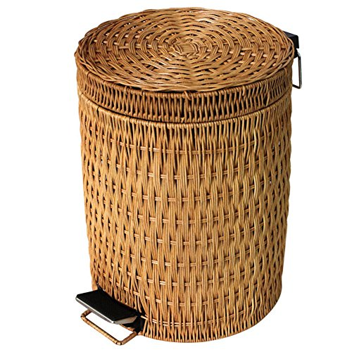 Wrash can Step trash can,Rattan & wicker Removable Trash can in home & kitchen Trash can with lid Round trash can-0.8usgal-A
