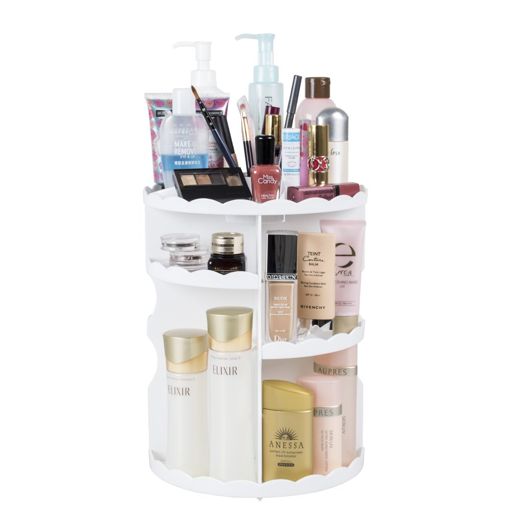 DreamGenius Makeup Organizer 360-Degree Rotating Adjustable Multi-Function Acrylic Cosmetic Storage New