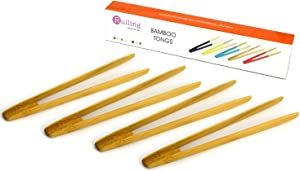 RuiLing Long Grip 4-Pack 9.5-Inch Natural Bamboo Kitchen Tongs Toast Tongs.